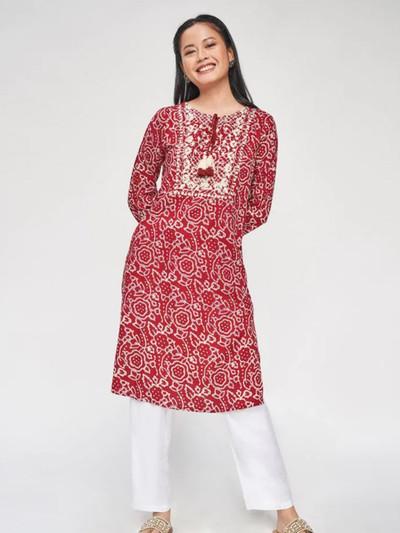 Red festive wear kurti for women