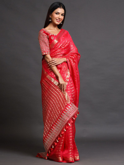 Red Festive Wear Organza Silk Saree with readymade blouse