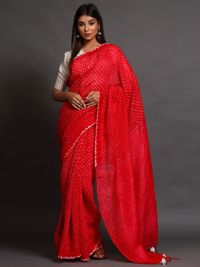 Red Gaji Silk party Wear Saree with readymade blouse