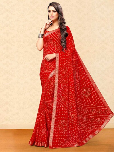 Red georgette saree with bandhej print for festive