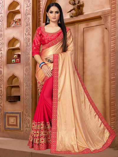 Red half and half patterned saree for wedding
