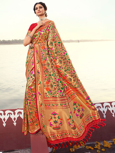 Red luxuriant banarasi silk wedding function saree