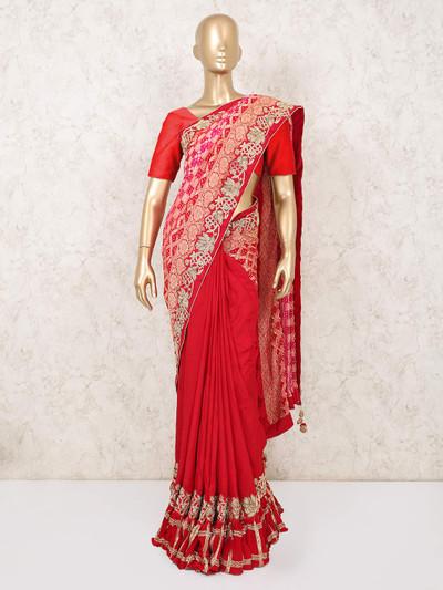 Red Magenta embellished saree in bandhej