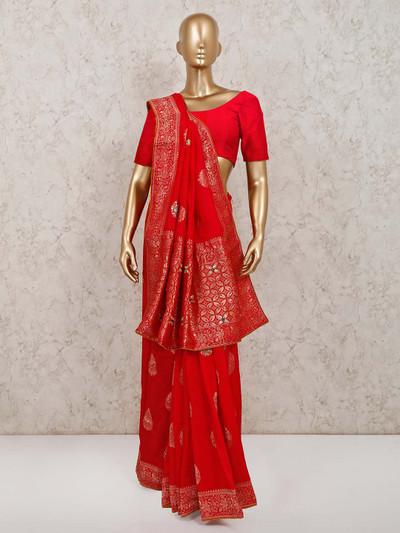 Red muga silk saree for parties