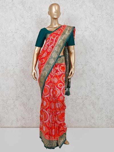 Red muga silk saree for wedding function