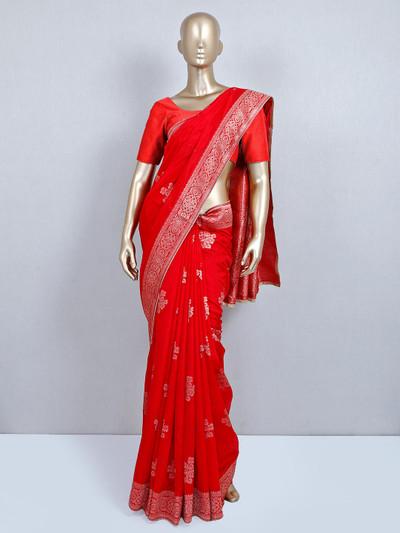Red muga silk wedding wear saree