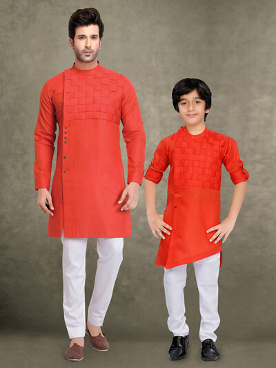 Red quilting design cotton father son kurta suit