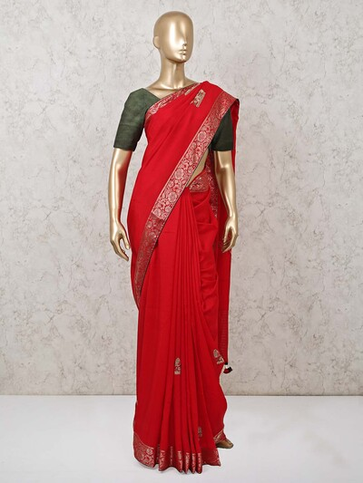Red saree in dola silk for festival with contrast blousepiece