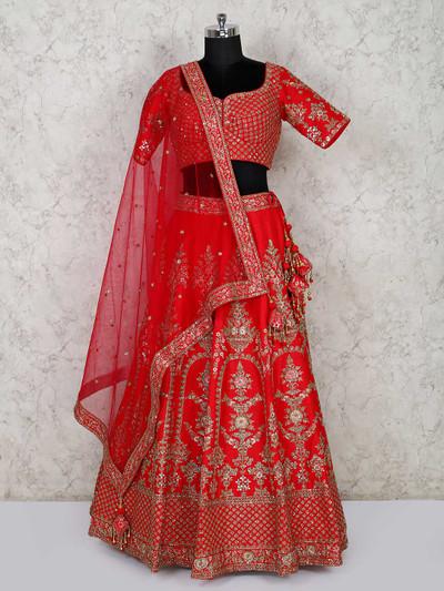 Red silk bridal lehenga choli