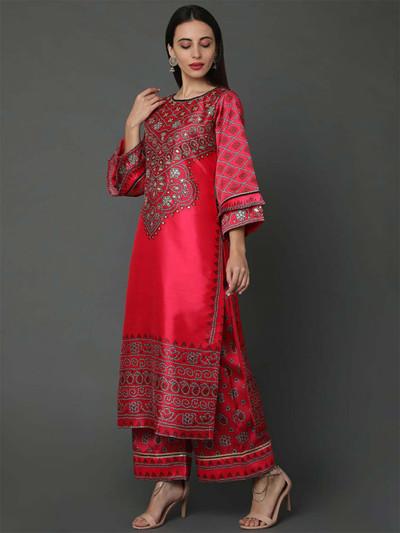 Red silk festive wear palazzo suit
