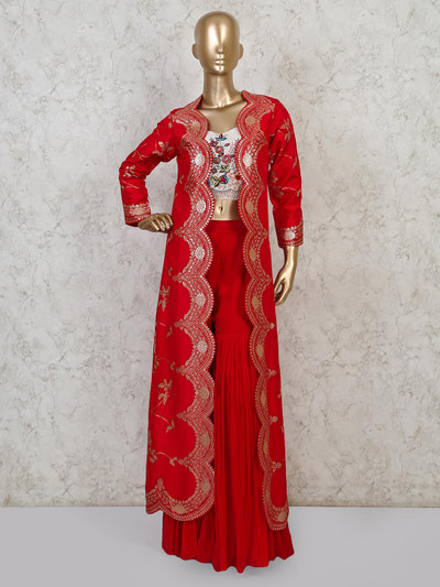 Red silk jacket style sharara suit