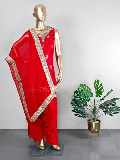 Red silk patiala suit for wedding