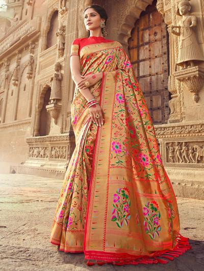 Red superb banarasi silk wedding session saree