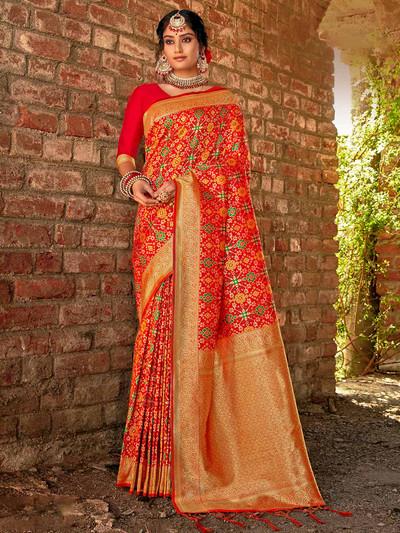 Red wedding wear banarasi silk saree for festive