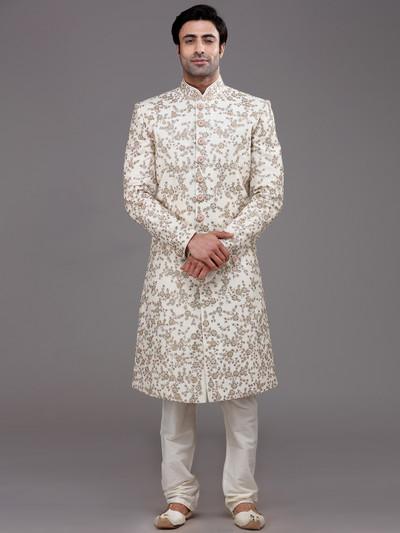 Refined classy cream raw silk sherwani set