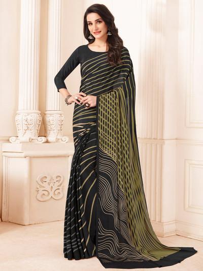 Rich crepe black printed saree