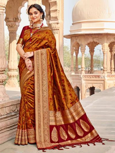 Rich mustard yellow red banarasi silk saree for wedding session