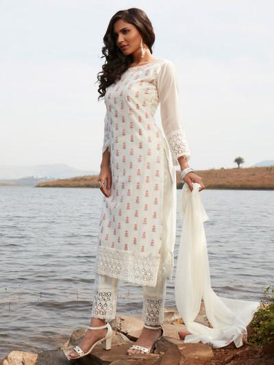 Rich off white cotton punjabi style festive wear pant suit