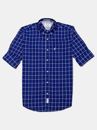 River Blue cotton royal blue checks shirt