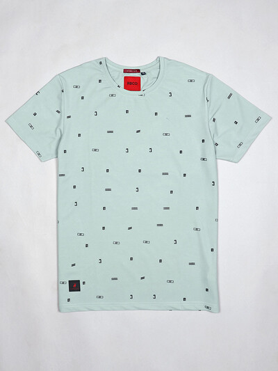 River Blue latest green printed cotton t-shirt