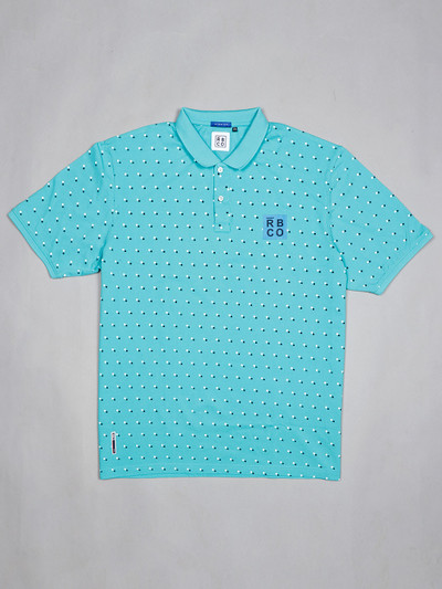River Blue mint green printed slim fit polo t-shirt