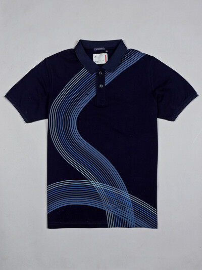 River Blue navy printed casual wear men t-shirt
