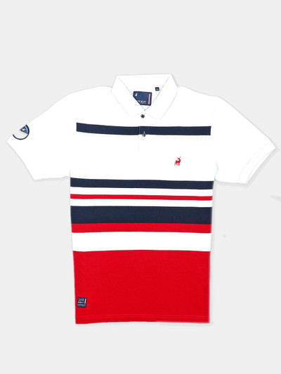 River Blue white stripe style polo t-shirt