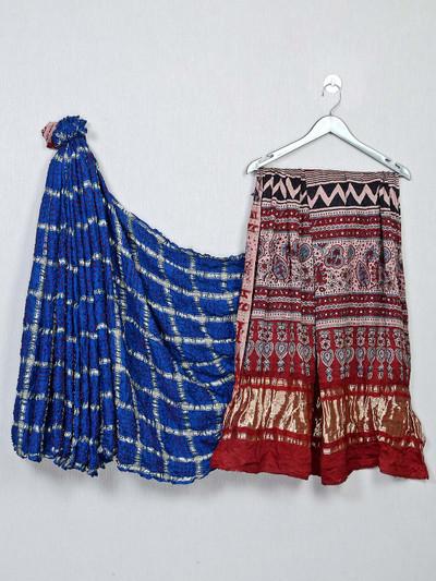 Royal blue and maroon color bandhej saree