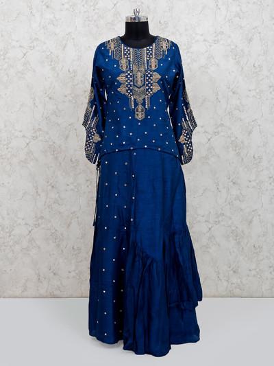 Royal blue punjabi lehenga suit in raw silk