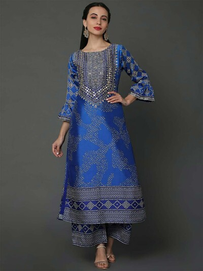 Royal blue silk fabric printed palazzo suit