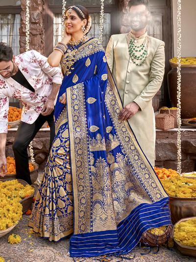 Royal blue wedding functions saree in banarasi silk