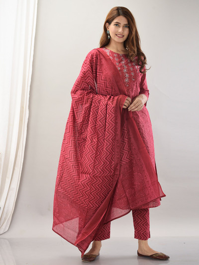 Ruby red printed punjabi style festive occasions cotton pant suit