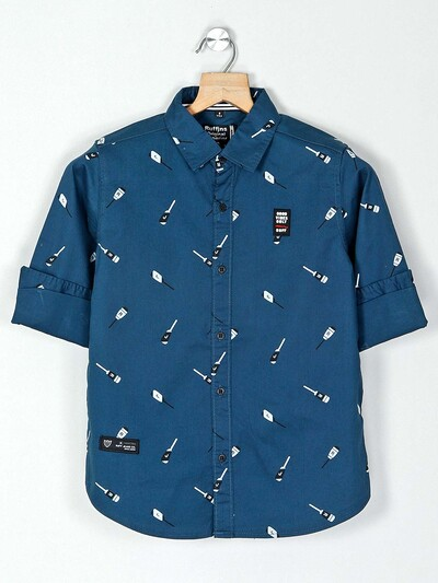 Ruff blue printed shirt for boys