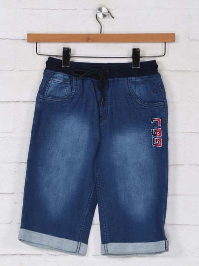 Ruff blue washed denim boys short