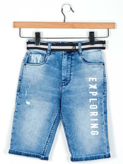 Ruff blue washed denim shorts for boys