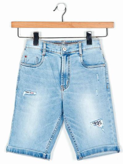 Ruff denim light blue washed pattern boys shorts