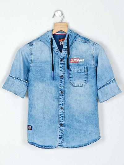 Ruff light blue denim slim fit washed shirt