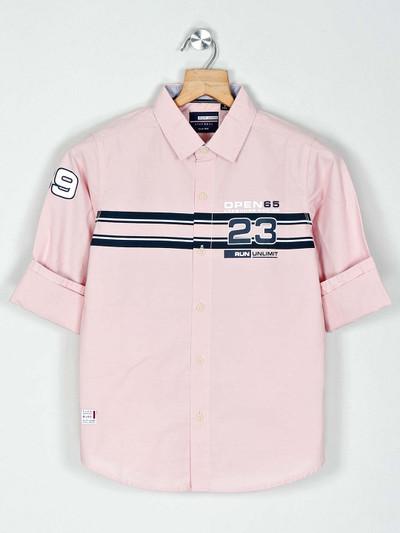 Ruff peach full buttoned placket printed shirt