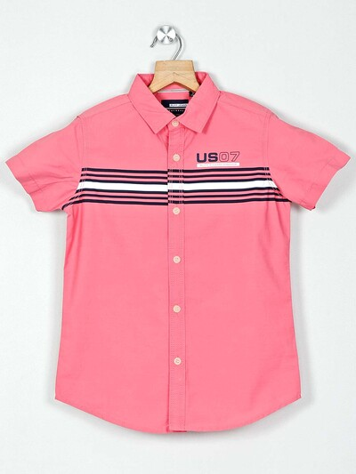 Ruff pink stripe casual shirt