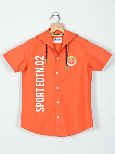 Ruff presented orange printed cotton shirt