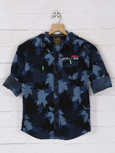Ruff printed blue casual cotton shirt