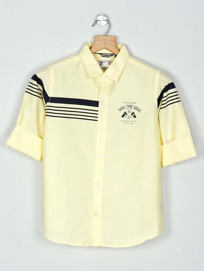 Ruff printed yellow cotton shirt