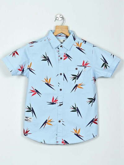 Ruff sky blue printed cotton shirt for boys