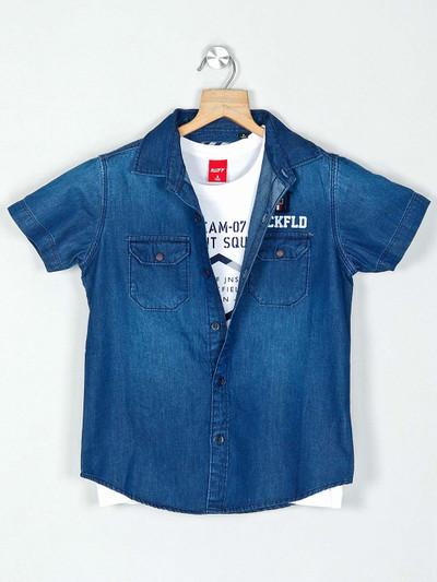 Ruff  solid blue casual boys denim shirt