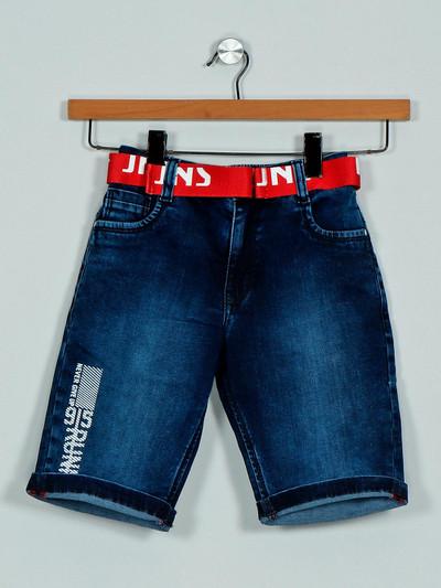 Ruff solid blue denim shorts casual wear