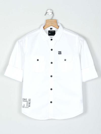 Ruff solid white casual boys shirt
