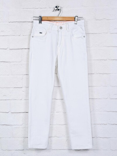 Ruff solid white slim fit jeans