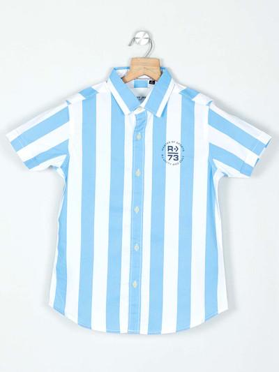 Ruff stripe blue shirt for boys