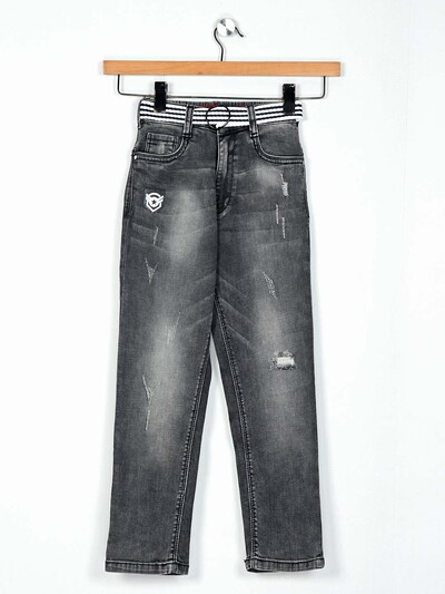 Ruff washed grey slim fit jeans