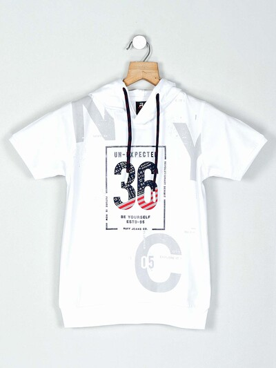 Ruff white printed cotton hooded t-shirt